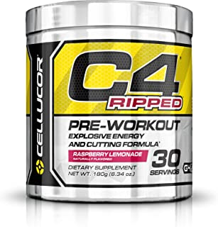 CELLUCOR C4 Ripped Pre Workout Powder (Gen 4), Raspberry Lemonade, 30 Servings - Preworkout for Men & Women with Green Coffee Bean Extract & L Carnitine
