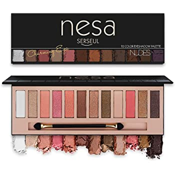 Serseul 12 Color Highly Pigmented Eyeshadow Palette Matte Shimmer Eye Makeup Shades Creamy Texture Blendable and Long Lasting Cruelty Free Nude C