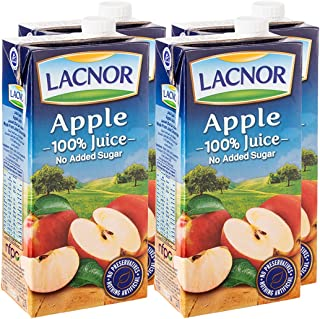 Lacnor Essentials Apple Juice NO ADDED SUGAR - 1 Litre (Pack of 4)
