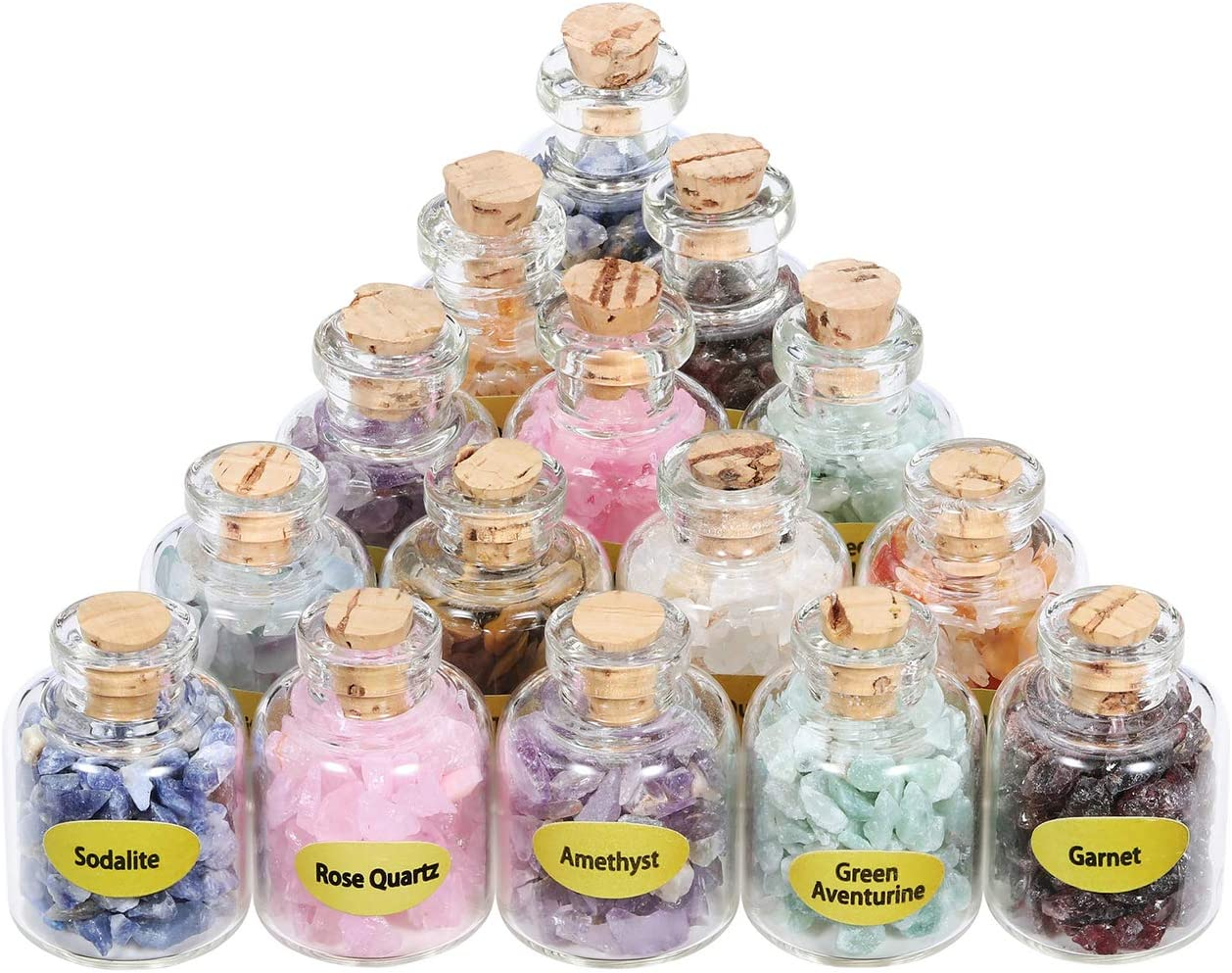Top Plaza 9 Pcs Healing Crystals and Stones Chips Set Mini Crystal Tumbled Gemstones Bottles for Chakra Reiki Meditation
