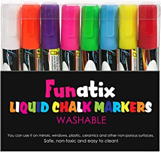Liquid Chalk Board Window Markers - 8 Pack Erasable Pens Great for Chalkboards - Non Toxic Safe & Easy to Use Neon Bright & Vibrant Colors for All Ages Funatix