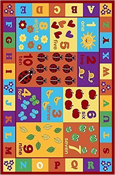 Furnish My Place 740 Numbers 5X7 Kids ABC Educational Alphabet Letter Anti Skid 4 5 X6 9 Multi Color