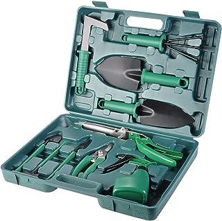 Gardening Tool Set Gifts 10 Piece Hand Garden Kit Women Gardener Carrying Case for Planting Weeding-Green
