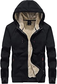 Men's Winter Thicken Fleece Sherpa Lined Hoodie Sweatshirt Jacket Parka with Zipper Pockets