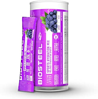 BioSteel High Performance Sports Drink Powder, Naturally Sweetened with Stevia, Grape, 12 To-Go Packets