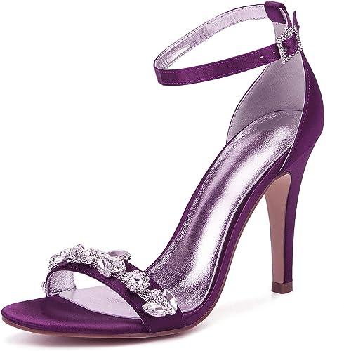 JRYYUE Femmes de Mariage Soirée Chaussures Fête Satin Boucle Strass Talons Hauts Peep Toe Pompes 10.5CM