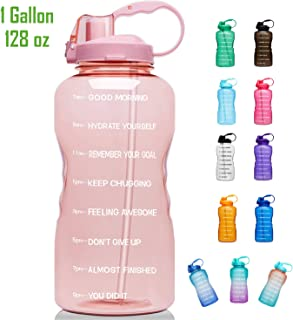 Giotto Large 1 Gallon/128oz Motivational Water Bottle with Time Marker & Straw,..