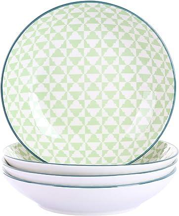 Preisvergleich für Vancasso Midori Porzellan Suppenteller, 4 teilig Teller Set, 600 ml Salatteller, Tief Pastateller