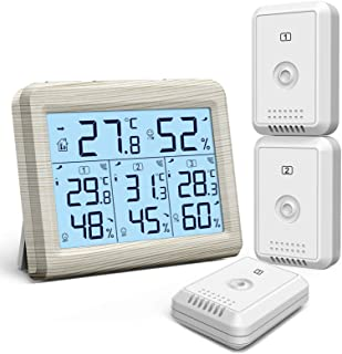 ORIA Indoor Outdoor Thermometer with 3 Wireless Sensors, Digital Hygrometer Thermometer, Temperature Humidity Monitor Mete...