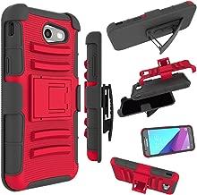 for Samsung Galaxy J3 Emerge Case, J3 Prime / J3 Eclipse / J3 2017 / J3 Luna Pro/Sol 2 / Amp Prime 2 / Express Prime 2 Cover, Zoeirc Shock Proof Dual Layer with Kickstand & Belt Clip Holster (red)