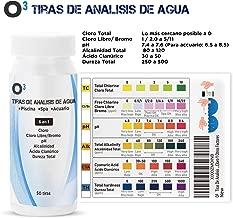 O³ Tiras De Analisis De Agua 50 Tiras 6 en 1 | Test Agua Acuario 6 En 1 - Apto Paria Piscina, SPA, Acuarios | Analizador Agua - pH - Cloro Y Otros Factores