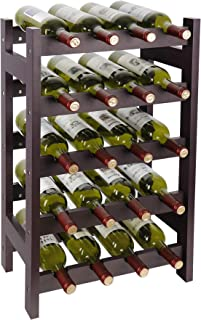Smartxchoices 20 Bottle Wine Rack Stackable Wine Bottle Holder Display Storage Shelf Wood Small Free Standing 5-Tier Narrow Wobble-Free