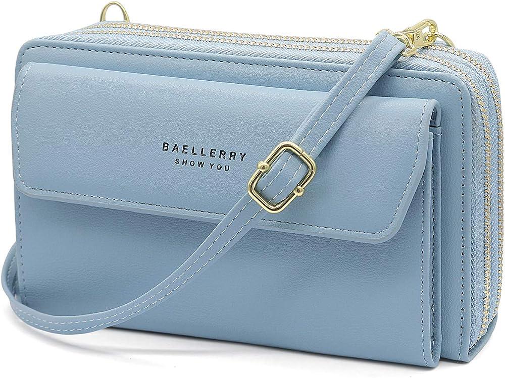 Hnoom portafoglio porta carte di credito porta cellulare con tracola per donna in pelle sintetica azzurro
