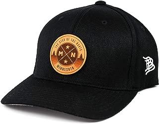 Branded Bills Minnesota 'The North Star' Leather Patch Hat Flex Fit - SM/MD/Black