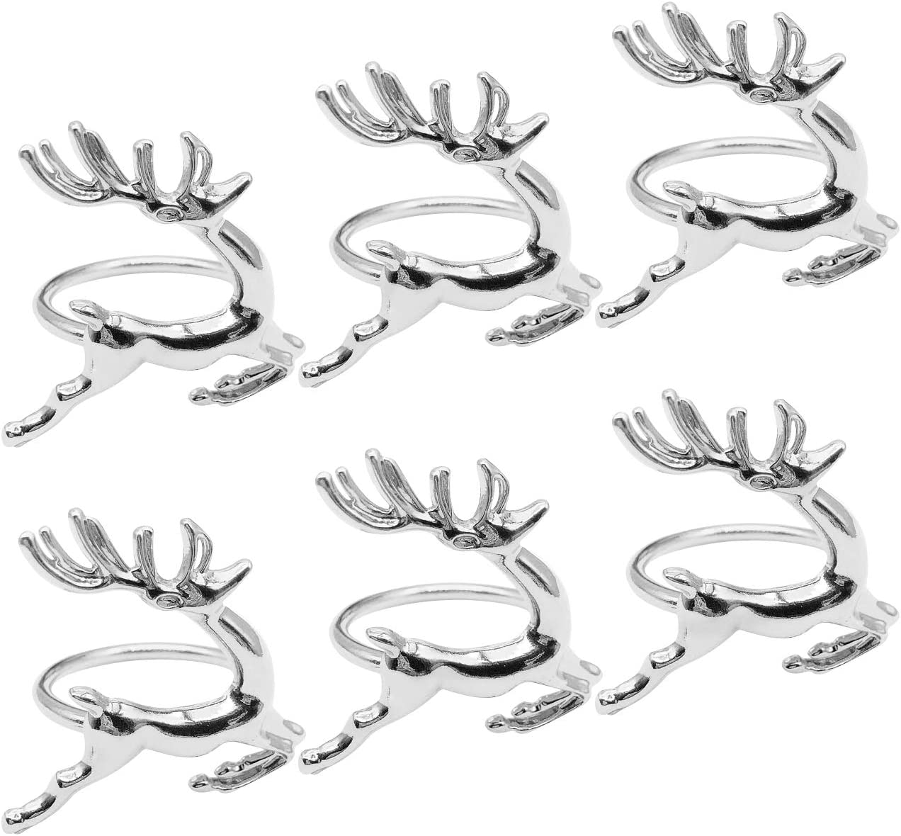 Keleily Servilleteros de Mesa Individuales 6 Piezas Servilleteros de Metal, Anillo de Hebillas de Ciervo Adecuado para Fiestas, Hoteles, Bodas, Navidad, Cenas, Restaurantes, Decoración de Mesas, Plata