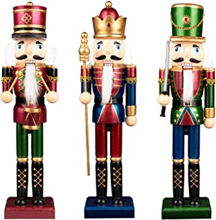 KI Store Christmas Nutcracker Set of 3 15-Inch Wooden Nutcracker King and Soldier Figurine Display Set for Christmas Decorations