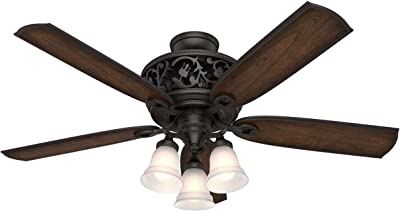 """HUNTER 59546 Promenade Indoor Ceiling Fan with LED Lights and Remote Control, 54"""", Brittany Bronze"""