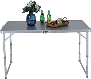 ALPHA CAMP 4ft Folding Camping Table Aluminum Adjustable Height Picnic Table Waterproof and Rust Resistant Portable Desk w...