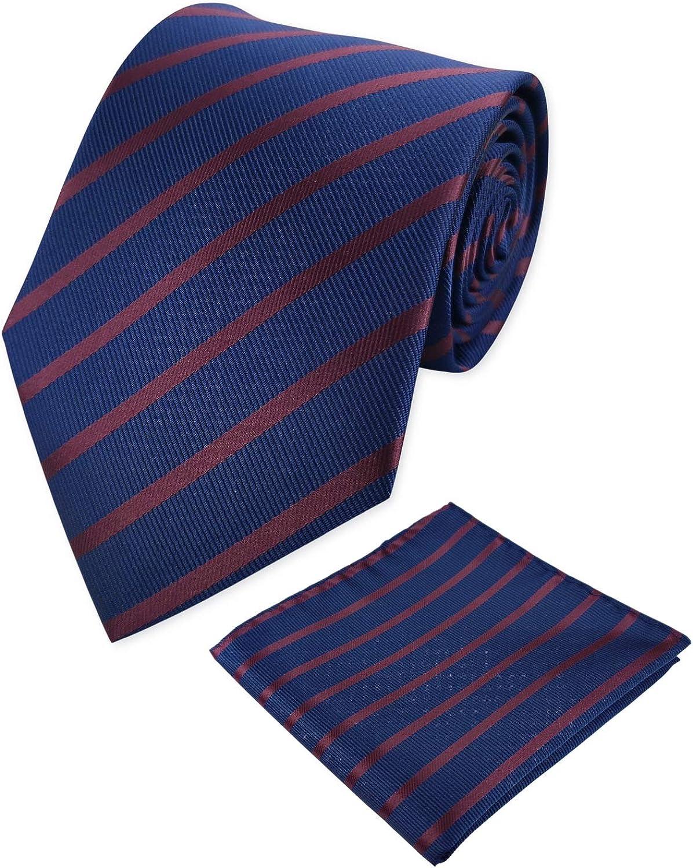 KOOELLE Extra Long Striped Tie Men's Jacquard Neckties & Pocket Square Set 63