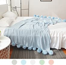 ZHIMIAN Reversible 100% Cotton Knit Throws Pompoms Fringe Solid Hypoallergenic Blanket(59