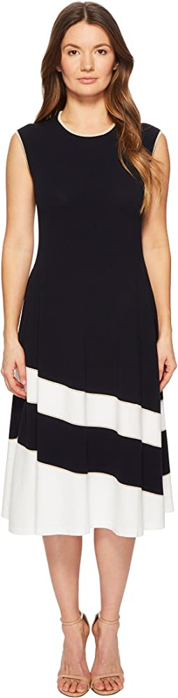 Dariar Sleeveless Asymmetrical Stripe Midi Knit Dress