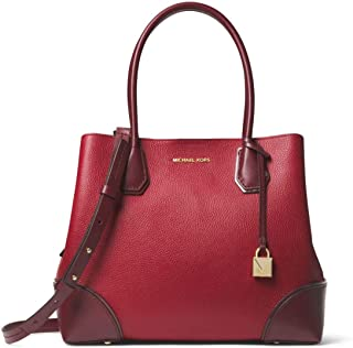 187af1e4ed MICHAEL Michael Kors Mercer Gallery Medium Color-Block Leather Satchel in  Maroon Oxblood
