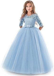 9720ed0604e8e NNJXD Filles Pageant Broderie Robe de Bal Princesse Robe de mariée