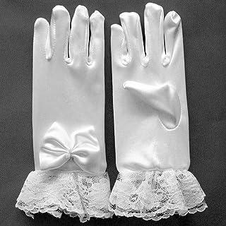 WINOMO グローブ UVカット手袋 フラワーガール レース ショートサテン 弓の手袋 滑り止め 紫外線対策 日焼け止め 幼稚園 結婚式 アウトドア ドライビング用 春夏 8-12歳用(左右セット ホワイト) フラワーガールの手袋ショートサテンの弓の結婚式の幼稚園の誕生日パーティーの生徒は8-12歳のためのドレスの手袋を見せる(ホワイト)