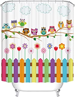 Dodou Digital Printing Owls Shower Curtain Set Home Decor Owls on a Branch Sunny Day Countryside Farmhouse Fences Wildflowers Holidays Art Polyester Waterproof Fabric Shower Curtain (72''Wx78''H)