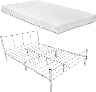 en.casa] Cama de Metal con Somier y Colchón 120 x 200 cm Cama ...