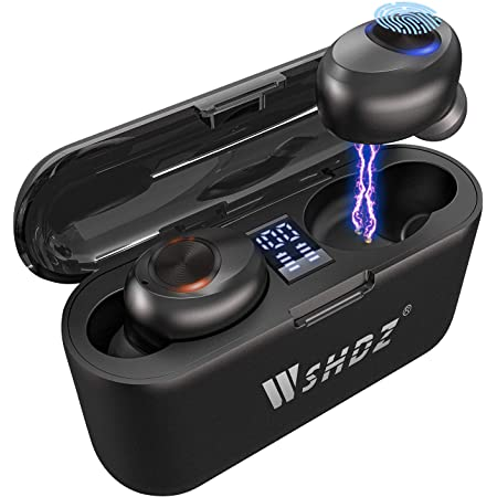Wireless Bluetooth Earbuds with Mic, WSHDZ T7 Touch Control Waterproof Immersive Bass Stereo Long Battery Headphones, Portable Charging Case with LED Display, Headset for Sports, Android, Phone Black