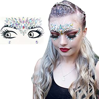 Rave Festival Face Jewels Stick On Crystals Unicorn Face Gems Stickers Glitter Rainbow Tears Rhinestone Temporary Tattoo