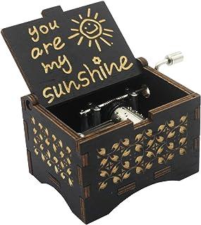Caja de música de manivela para esposa, You are My Sunshine Music Box – You are My Sunshine Muisc Box – Caja de madera gra...