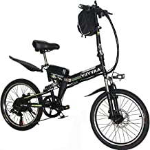 YiiYYaa Folding Electric Bike, 20 Inch Ebike Commuter Bicycle with 36V 350W Motor and 7 Speed Shifter