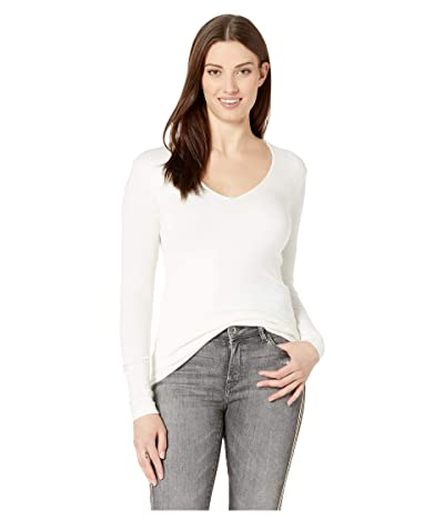 Three Dots Luxe Rib Long Sleeve V-Neck Top (Winter White) Women