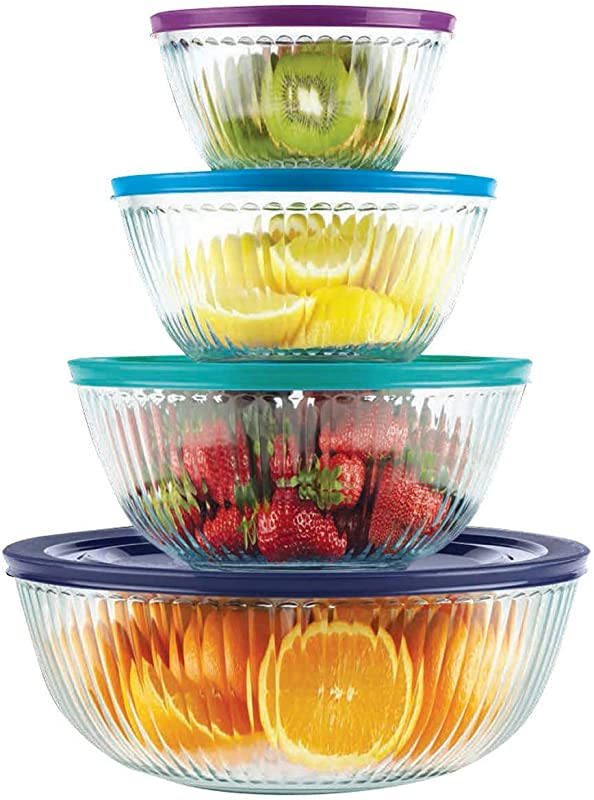 Pyrex 4 Piece 100 Years Glass Mixing Bowl Set Limited Edition Assorted Colors Lids