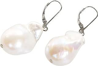 Freshwater Baroque Pearl Drop Earrings in Sterling Silver Leverback 15X25mm