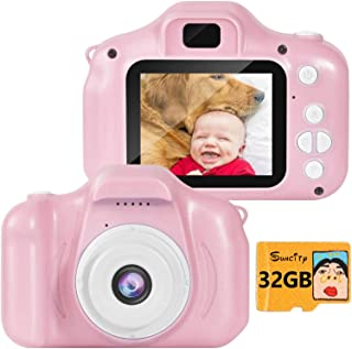 SUNCITY Girl Toys Gifts Kids Camera for 3 4 5 6 7 8 Years Old Birthday for Children Preschoolers Toddlers, 2 Inch Screen 32GB Memory Card Included (Real Digital Camera, Pink)
