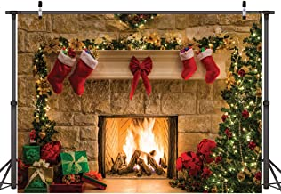 CYLYH 8x6ft Christmas Photography Backdrops Christmas Tree Gifts Box Theme Photography Backdrop Photo Background Child Christmas Fireplace Decoration Background 087