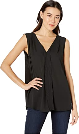 Alison Sleeveless V-Neck Pleat Top