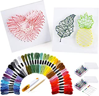 PP OPOUNT String Art Craft Kit Include 36 Colors Embroidery Threads, 200 Pieces Ball Head Pins, 2 Pieces Foam Boards and A...