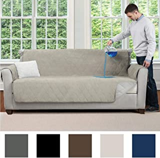 MIGHTY MONKEY Premium Slip and Water Resistant Sofa Slipcover, Seat Width Up to 70 Inch, Oeko Tex Certified, Suede-Like, Absorbs 5 Cups of Water, Cover for Couches, Kids, Dogs, Sofa, Linen