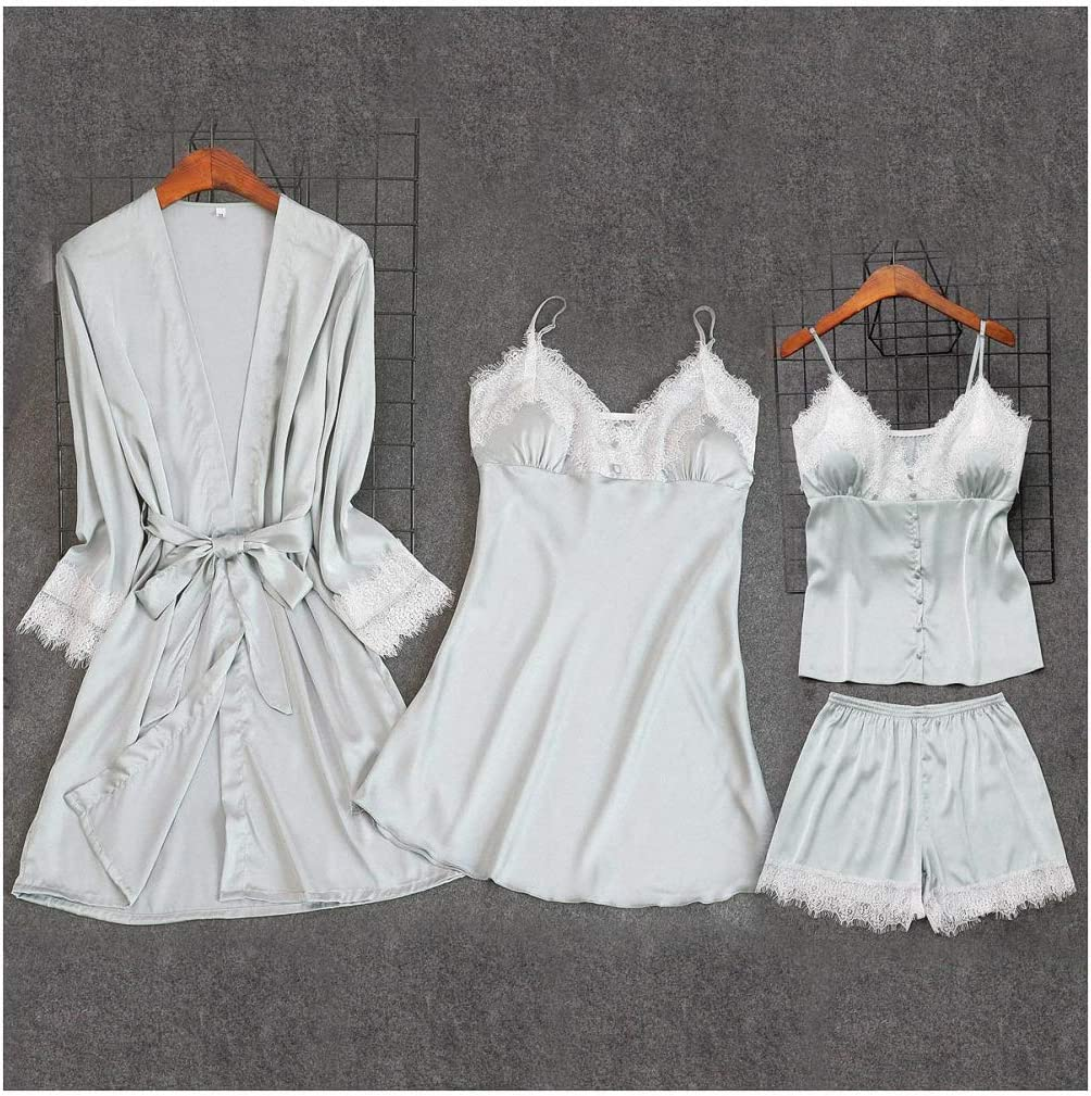 Red Women's 4 pcs Strap Pants Sleepwear Suit Now on sale Clearance SALE! Limited time! Sets Spring Pajamas