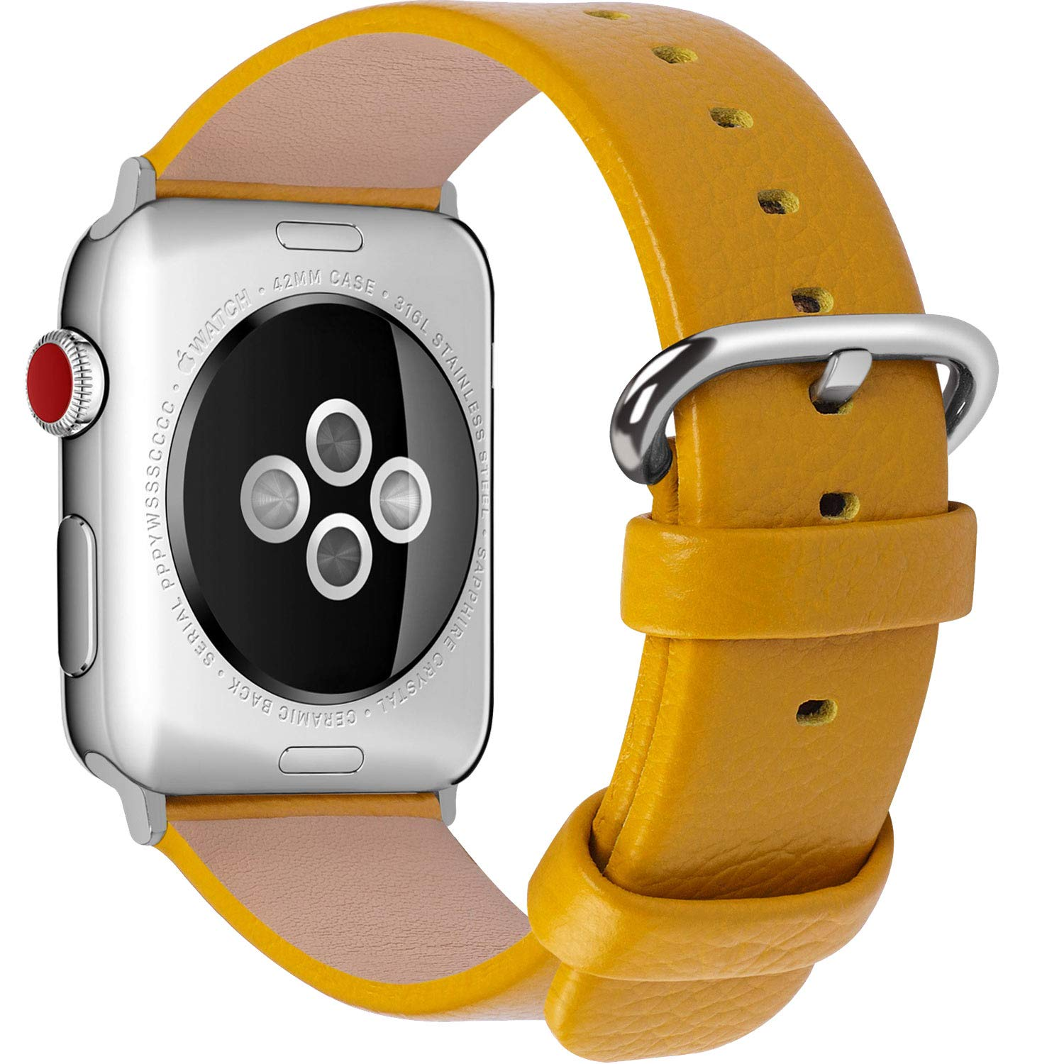 Fullmosa Correa Compatible Apple Watch 44mm 42mm 40mm 38mm, YAN 15 Colores Correa Cuero Pulsera para iWatch Series 5 4 3 2 1, Amarillo 38mm 40mm: Amazon.es: Electrónica