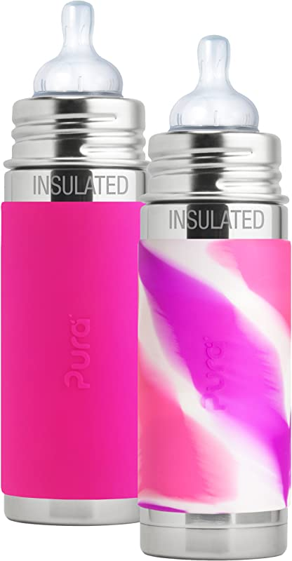 Pura Kiki Stainless Steel Vacuum Insulated Infant Bottle 9 Ounce Set Of 2 Pink Swirl And Pink