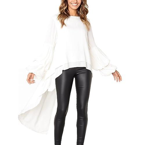 08b51ee56e9 PRETTYGARDEN Women s Lantern Long Sleeve Round Neck High Low Asymmetrical  Irregular Hem Casual Tops Blouse Shirt