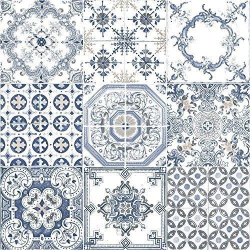 Muriva Tapete Fliesen Muster Retro Floral Motiv Küche Badezimmer Vinyl Tapete Blue J95601