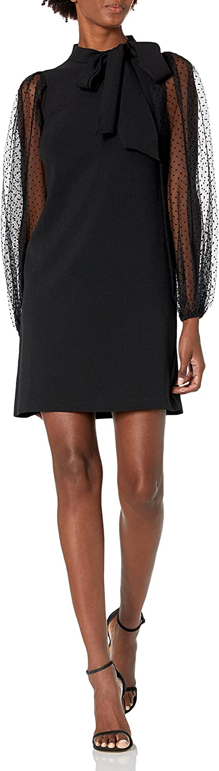 Vince Camuto Women's Bow Neck Shift Dress with Mesh Dot Sleeves
