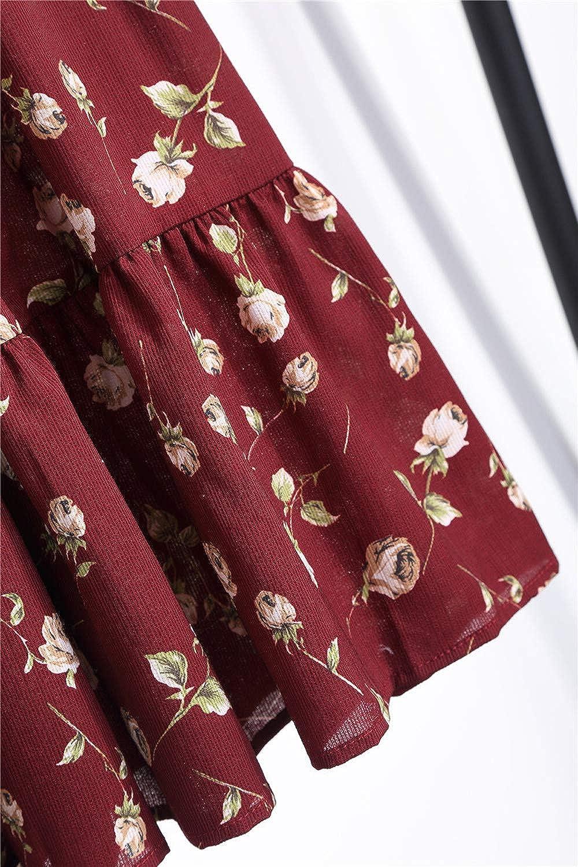 FRAUIT Kleid Damen Langarm Druck Vintage Boho Maxi Kleid Chiffon Lose Kleid Pastoralen Elegant Kleid Casual Kleid für Herbst Winter Frühling Wein