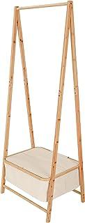 Lumaland Portemanteau en bambou, meuble d'entrée vestiaire, portant vêtements avec étagère a chaussures, 159 x 60 x 45 cm,...